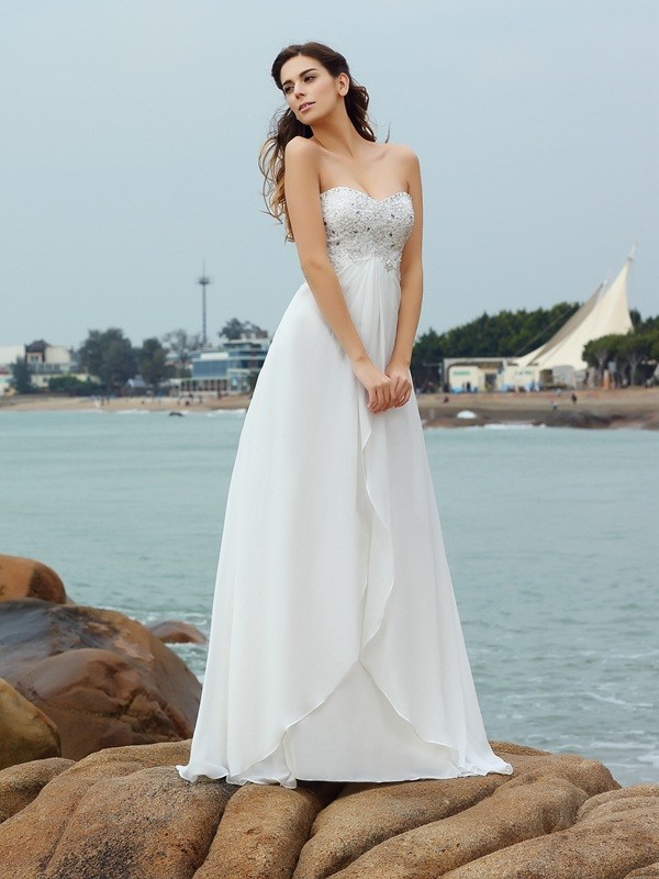 A-Line/Princess Sweetheart Sleeveless Floor-Length Chiffon Wedding Dresses with Beading