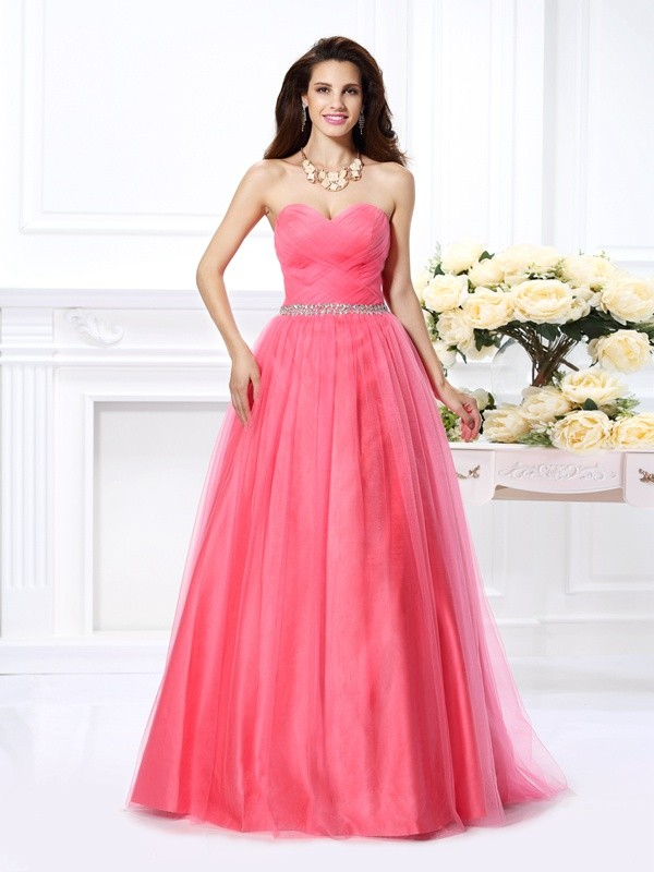 Ball Gown Sweetheart Sleeveless Floor-Length Satin Dresses with Beading Pleats