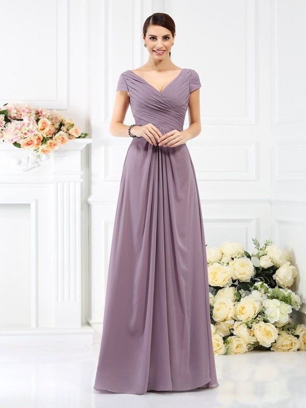 A-Line/Princess V-neck Short Sleeves Floor-Length Chiffon Bridesmaid Dresses with Pleats