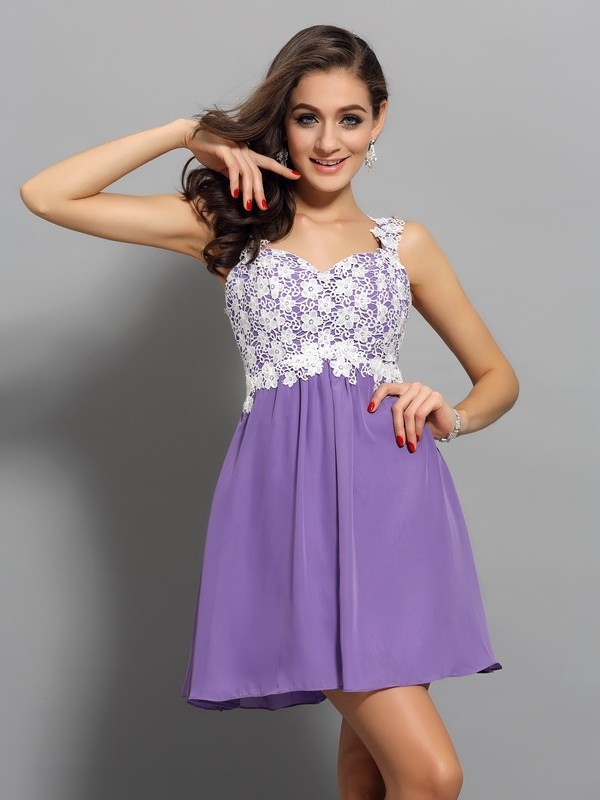 A-Line/Princess Straps Sleeveless Short/Mini Chiffon Dresses with Applique