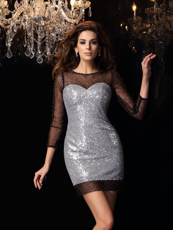 Sheath/Column Scoop 3/4 Sleeves Short/Mini Sequins Dresses with Beading