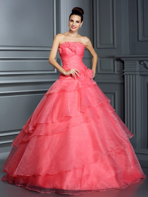 Ball Gown Strapless Sleeveless Floor-Length Organza Dresses with Hand-Made Flower