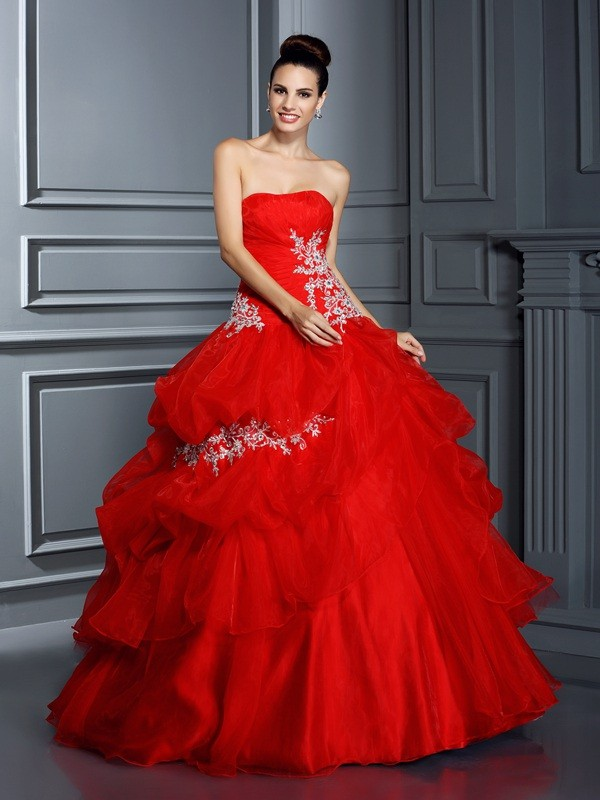 Ball Gown Strapless Sleeveless Floor-Length Organza Dresses with Applique