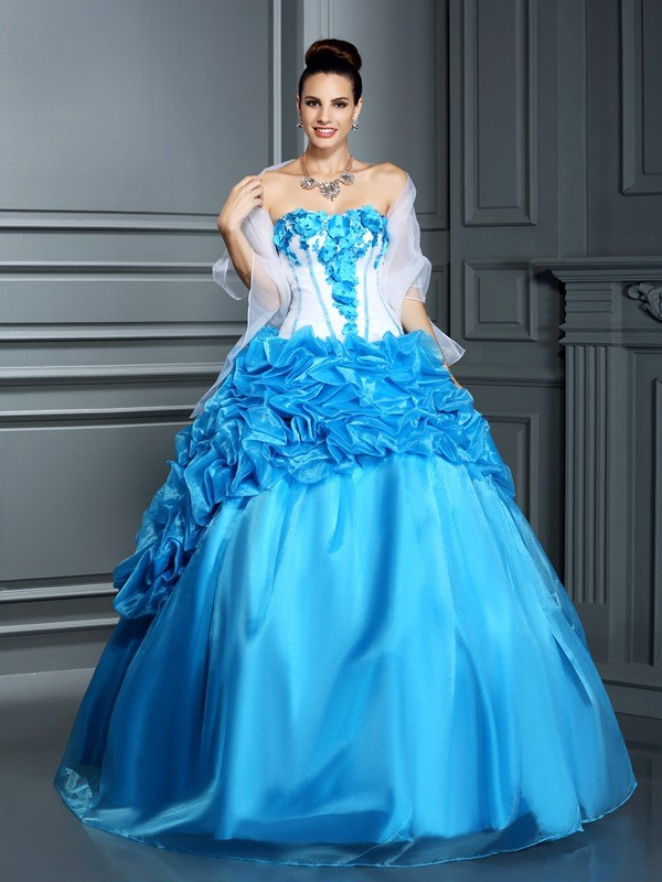 Ball Gown Sweetheart Sleeveless Floor-Length Satin Dresses with Ruffles