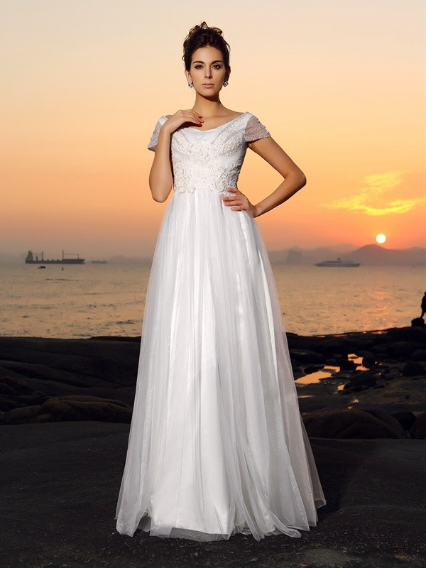 A-Line/Princess Off-the-Shoulder Short Sleeves Floor-Length Tulle Wedding Dresses with Beading