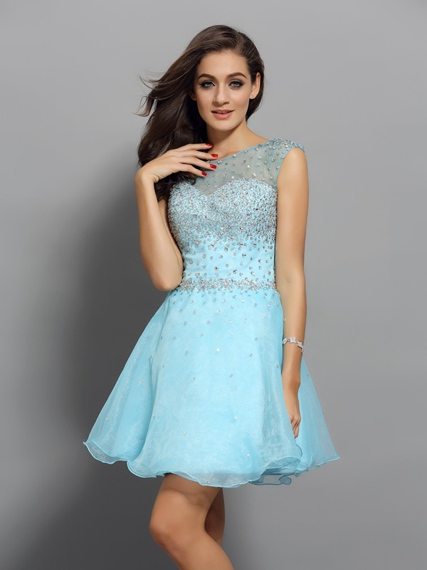 A-Line/Princess Scoop Sleeveless Short/Mini Organza Dresses with Beading