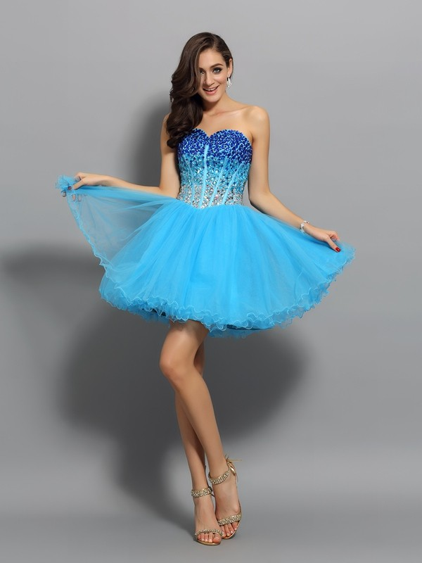 A-Line/Princess Sweetheart Sleeveless Short/Mini Satin Dresses with Ruffles