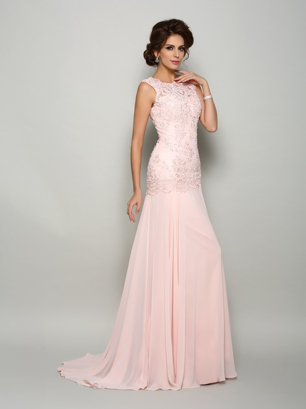 Trumpet/Mermaid Scoop Sleeveless Sweep/Brush Train Chiffon Mother of the Bride Dresses with Beading Applique
