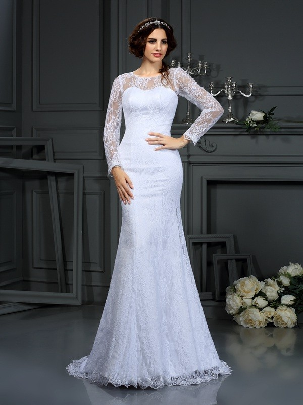 Sheath/Column Scoop Long Sleeves Court Train Satin Wedding Dresses with Lace