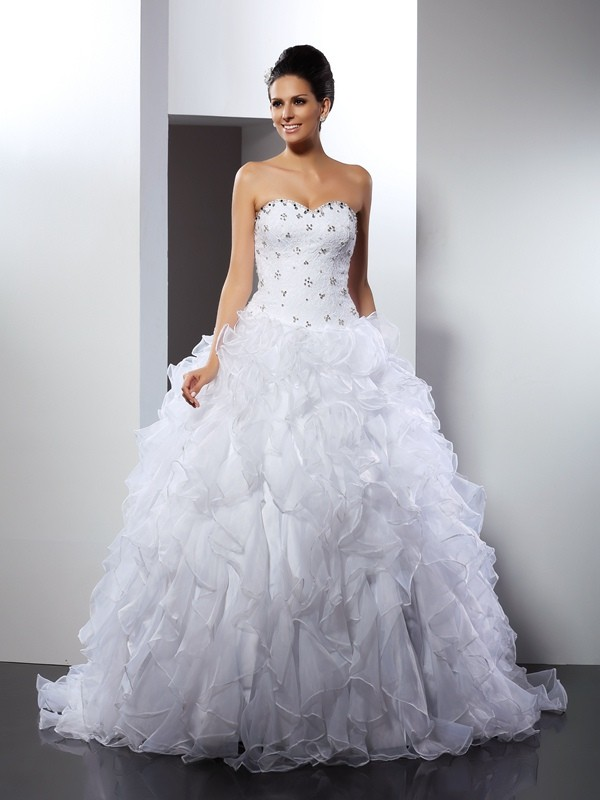 Ball Gown Sweetheart Sleeveless Court Train Satin Wedding Dresses with Ruffles