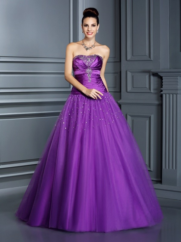 Ball Gown Strapless Sleeveless Floor-Length Taffeta Dresses