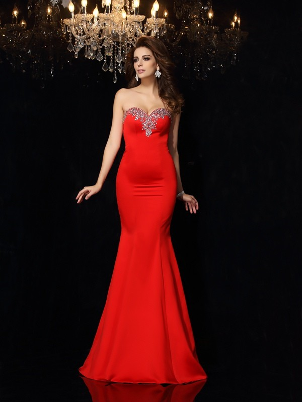 Sheath/Column Sweetheart Sleeveless Court Train Satin Dresses with Beading