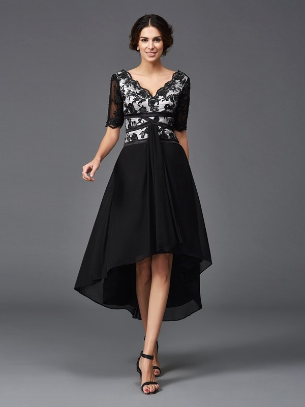 A-Line/Princess V-neck 1/2 Sleeves Asymmetrical Chiffon Dresses with Lace