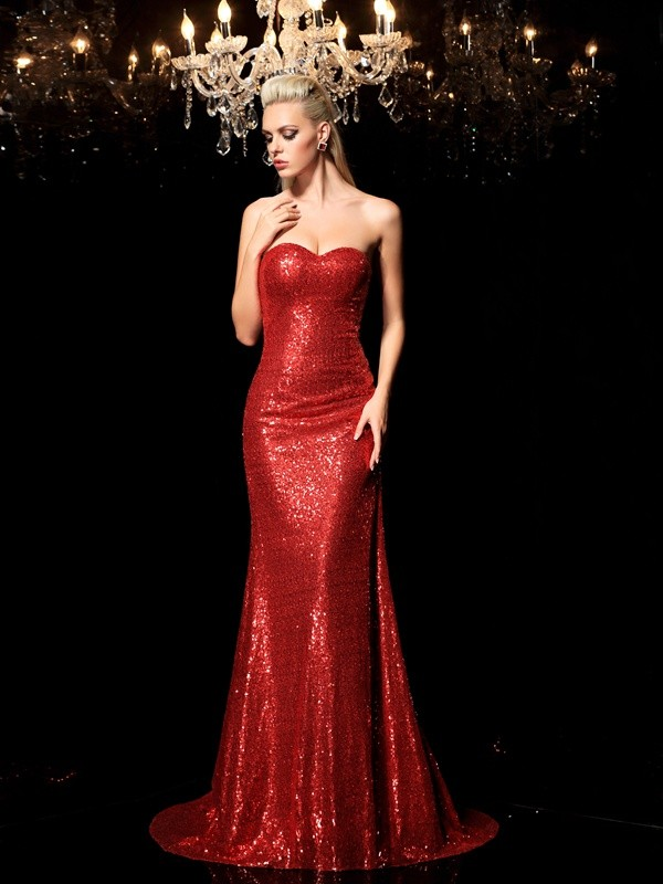 Sheath/Column Sweetheart Sleeveless Sweep/Brush Train Sequins Dresses with Sequin