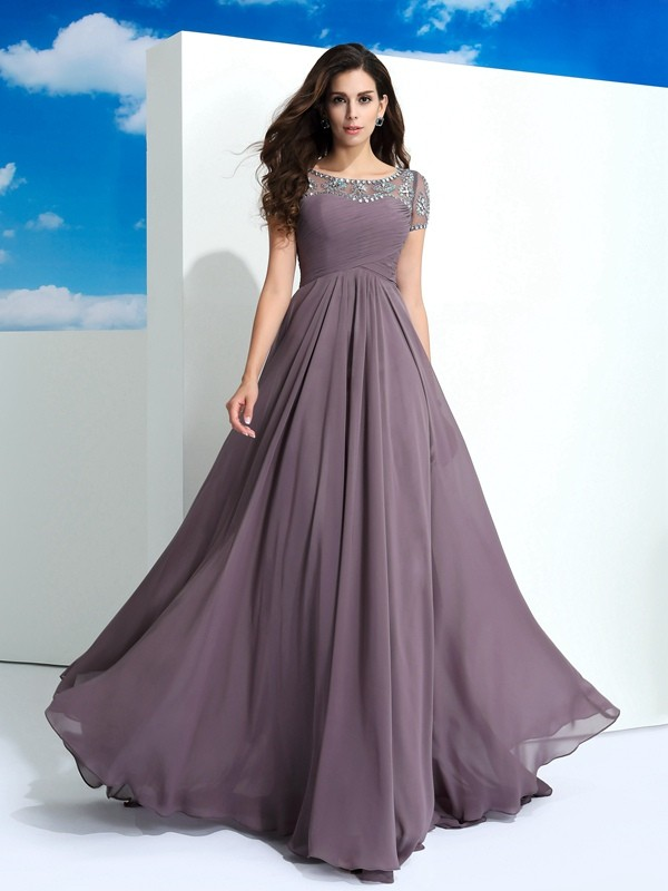 A-Line/Princess Sheer Neck Short Sleeves Floor-Length Chiffon Dresses with Beading