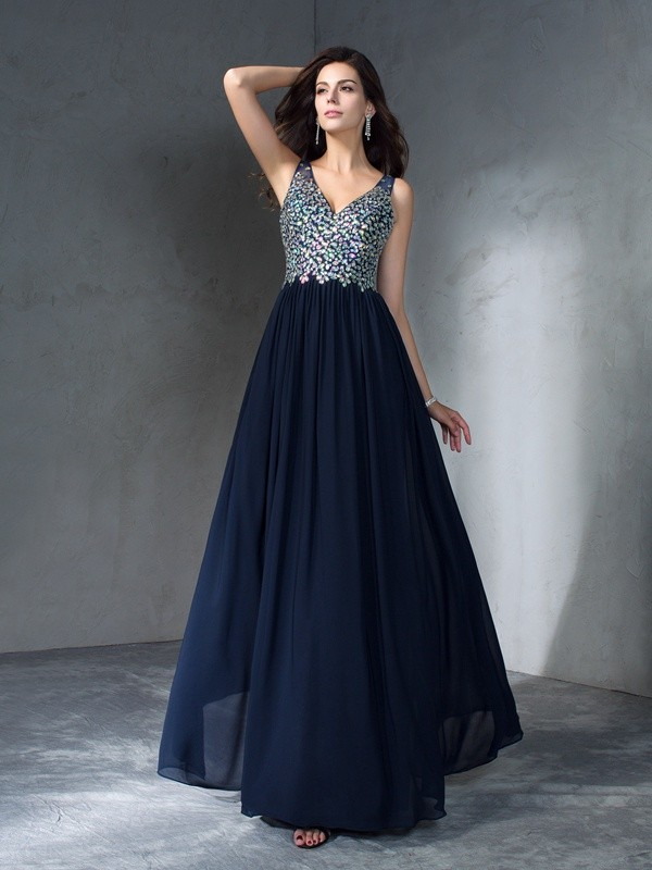 A-Line/Princess V-neck Sleeveless Floor-Length Chiffon Dresses with Beading