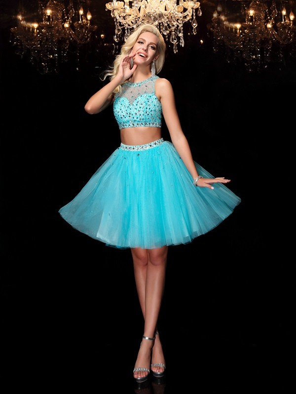 A-Line/Princess Scoop Sleeveless Short/Mini Net Dresses with Rhinestone