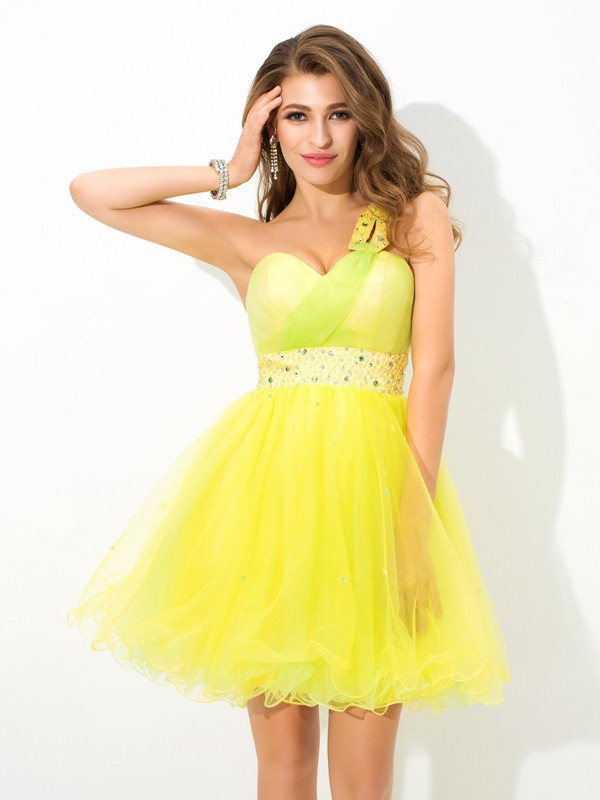 A-Line/Princess One-Shoulder Sleeveless Short/Mini Net Dresses with Beading