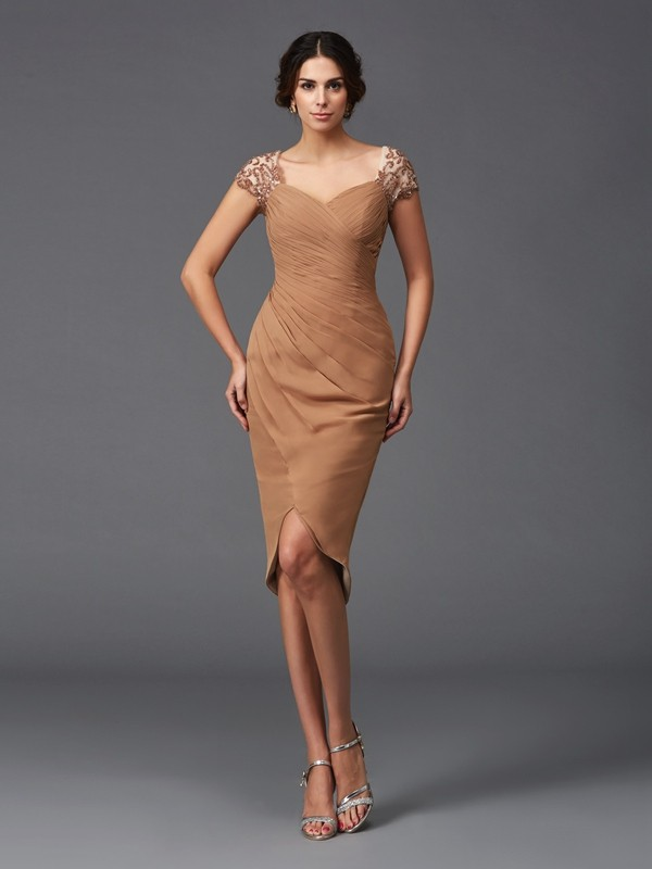 Sheath/Column Sweetheart Short Sleeves Asymmetrical Chiffon Dresses with Applique