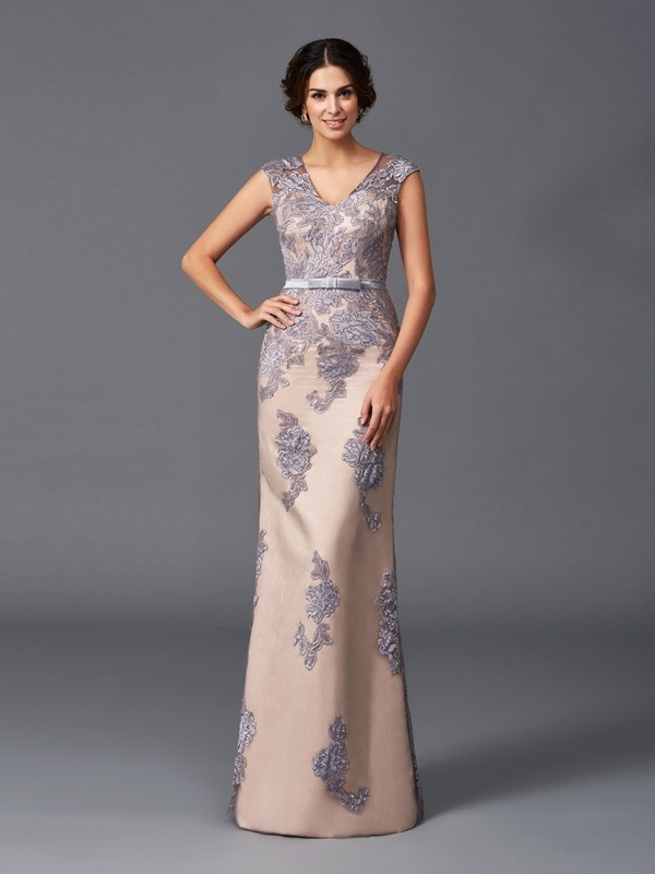 Sheath/Column Straps Sleeveless Floor-Length Satin Dresses with Applique