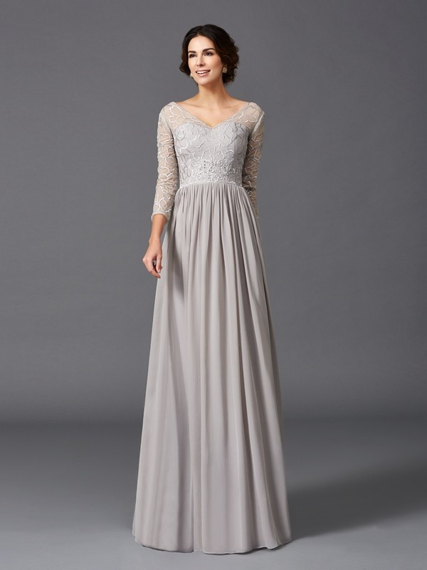 A-Line/Princess V-neck 3/4 Sleeves Floor-Length Chiffon Mother of the Bride Dresses with Ruffles