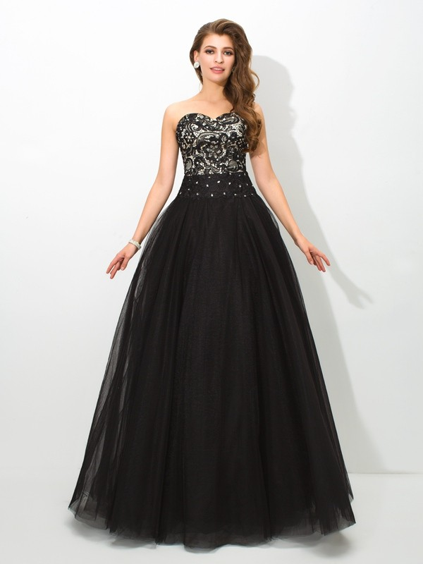 Ball Gown Sweetheart Sleeveless Floor-Length Net Dresses with Lace