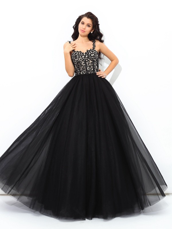 Ball Gown Straps Sleeveless Floor-Length Net Dresses with Applique