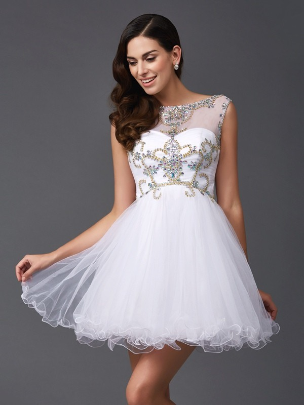 A-Line/Princess Scoop Sleeveless Short/Mini Net Dresses with Beading