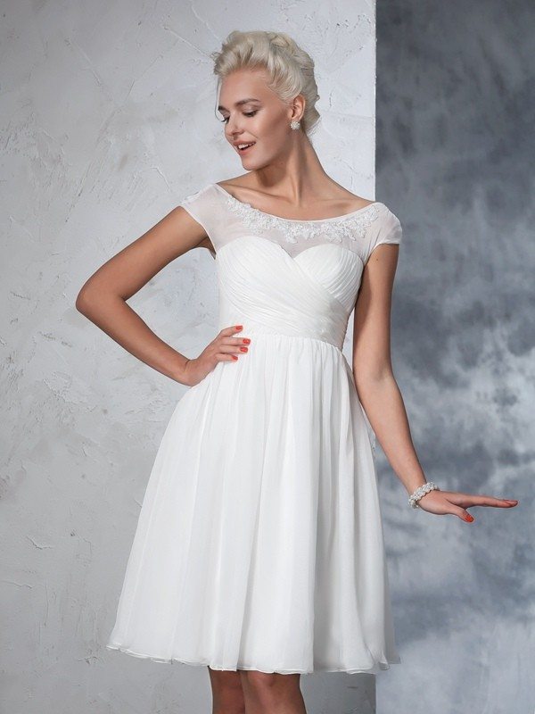 A-Line/Princess Sheer Neck Short Sleeves Knee-Length Chiffon Ruched Wedding Dresses