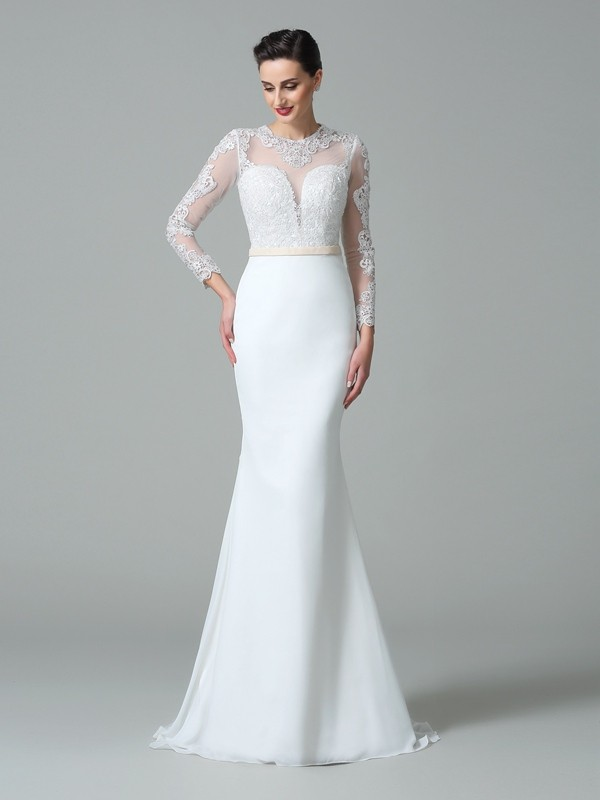 Trumpet/Mermaid Jewel Long Sleeves Sweep/Brush Train Satin Wedding Dresses with Lace