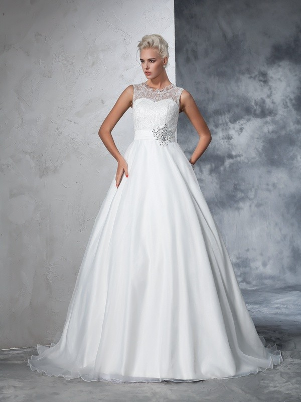 Ball Gown Sheer Neck Sleeveless Chapel Train Net Wedding Dresses with Lace