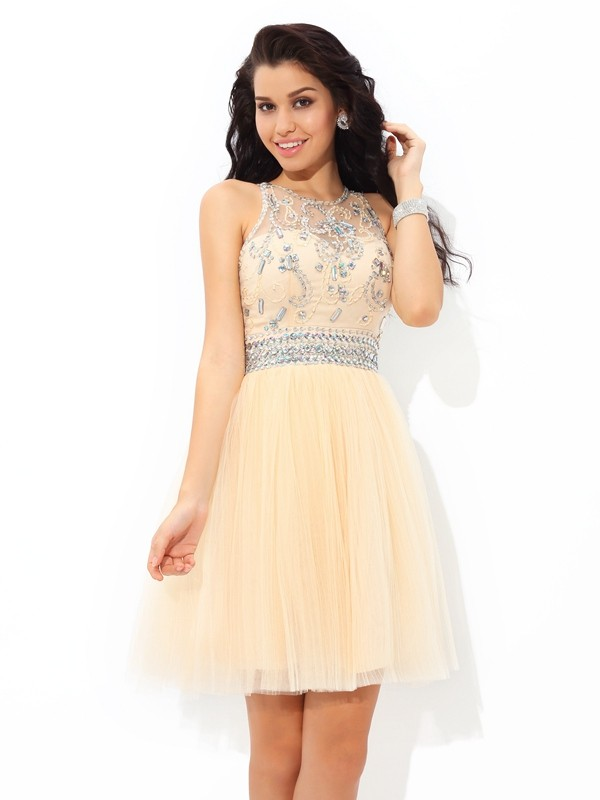 A-Line/Princess Sheer Neck Sleeveless Short/Mini Net Dresses with Beading
