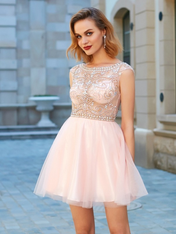 A-Line/Princess Scoop Short Sleeves Short/Mini Net Dresses with Beading