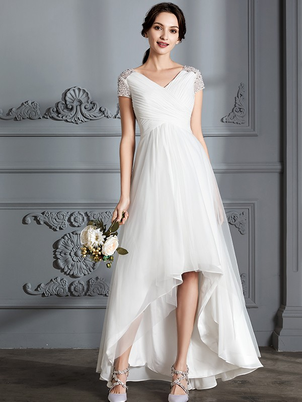 A-Line/Princess V-neck Short Sleeves Asymmetrical Tulle Wedding Dresses