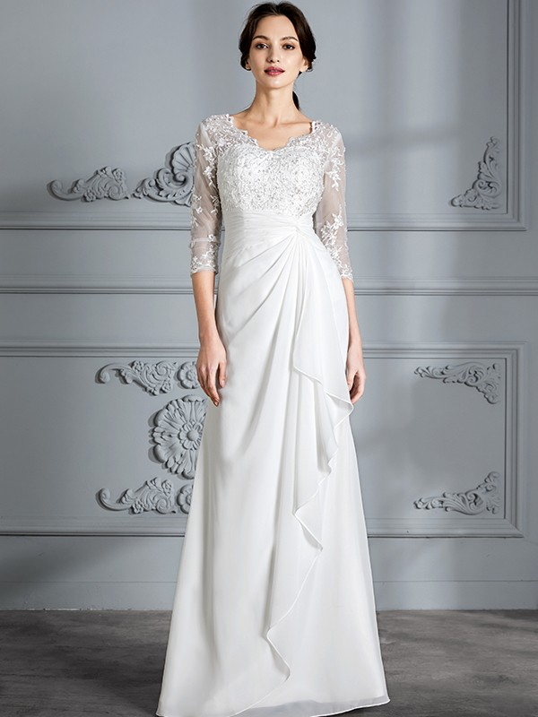 Sheath/Column V-neck 3/4 Sleeves Floor-Length Chiffon Wedding Dresses