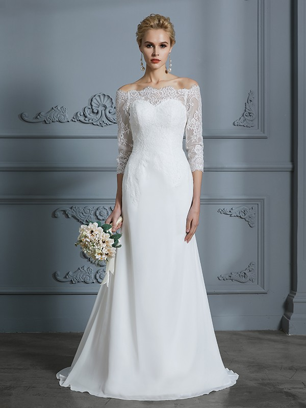 Trumpet/Mermaid Off-the-Shoulder 1/2 Sleeves Sweep/Brush Train Chiffon Wedding Dresses with Lace