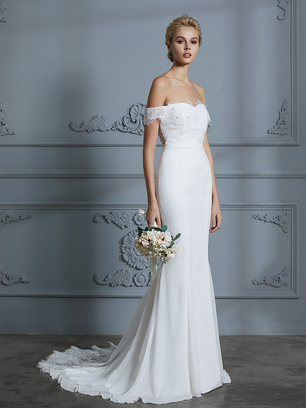 Trumpet/Mermaid Off-the-Shoulder Sleeveless Sweep/Brush Train Chiffon Wedding Dresses with Lace