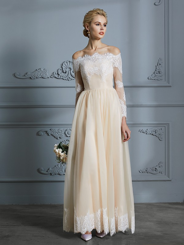 A-Line/Princess Off-the-Shoulder Long Sleeves Floor-Length Tulle Wedding Dresses with Lace