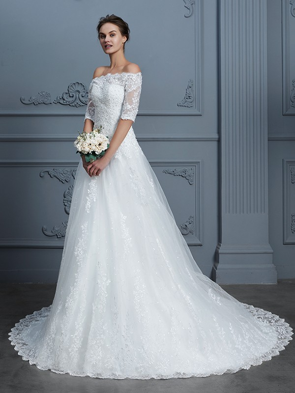 Ball Gown Off-the-Shoulder 1/2 Sleeves Court Train Lace Wedding Dresses with Beading