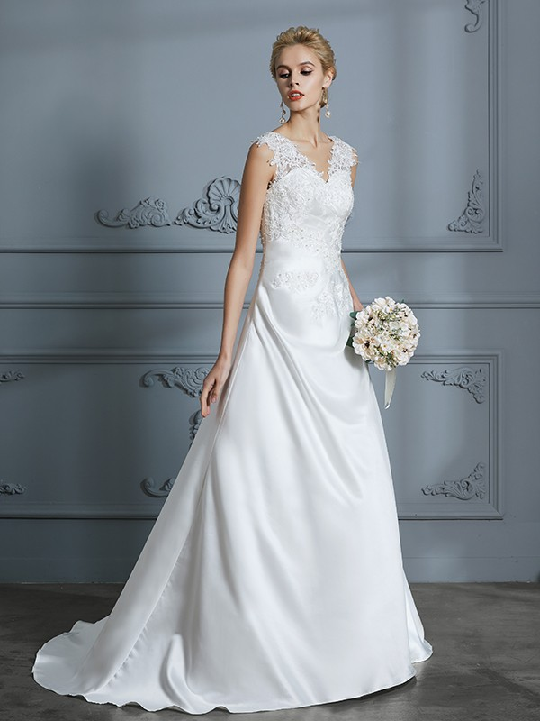 A-Line/Princess V-neck Sleeveless Sweep/Brush Train Satin Wedding Dresses with Applique