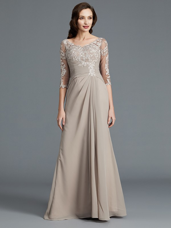 A-Line/Princess Scoop 1/2 Sleeves Floor-Length Chiffon Mother of the Bride Dresses with Applique