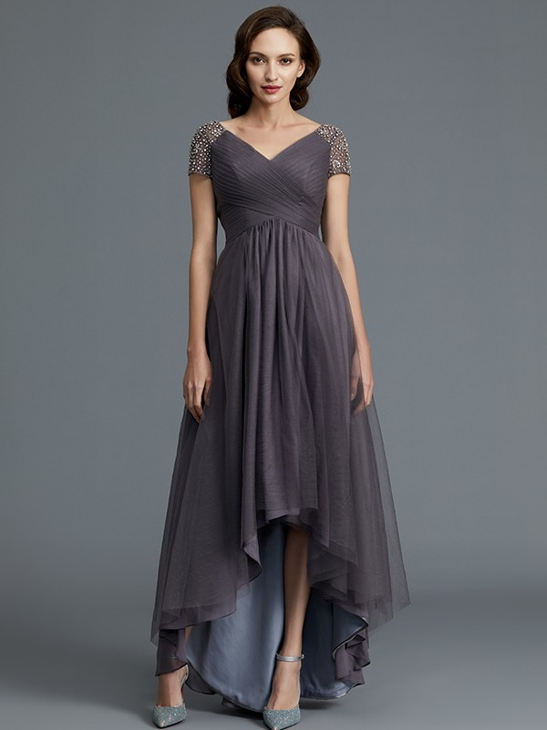 Tulle V-neck Asymmetrical Grey Mother of the Bride Dresses