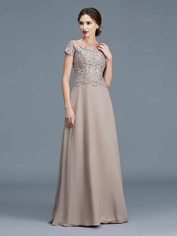 A-Line/Princess Scoop Short Sleeves Floor-Length Chiffon Mother of the Bride Dresses with Applique