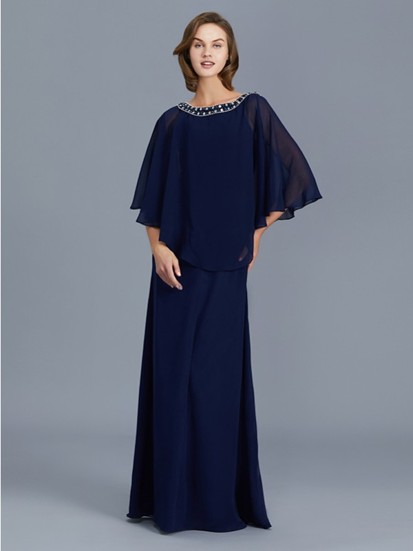 Sheath/Column Scoop Long Sleeves Floor-Length Chiffon Mother of the Bride Dresses with Beading