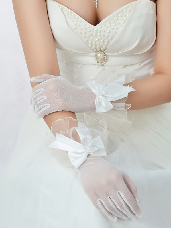 Best Tulle Bowknot Bridal Gloves