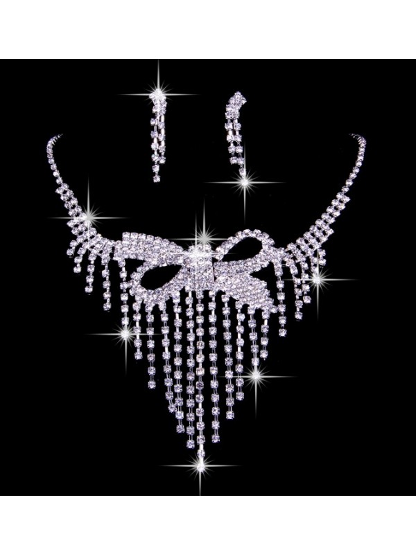 Elegant Czech Rhinestone Wedding Necklaces Earrings Set