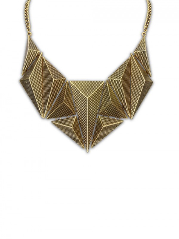 Occident Hyperbolic Metallic Dimensional Geometry Fashion Necklace
