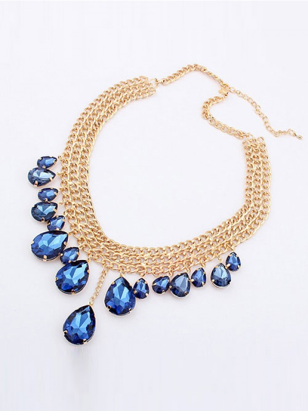 Occident Hyperbolic Stylish Metallic Mashup style New Water Drop Fashion Necklace