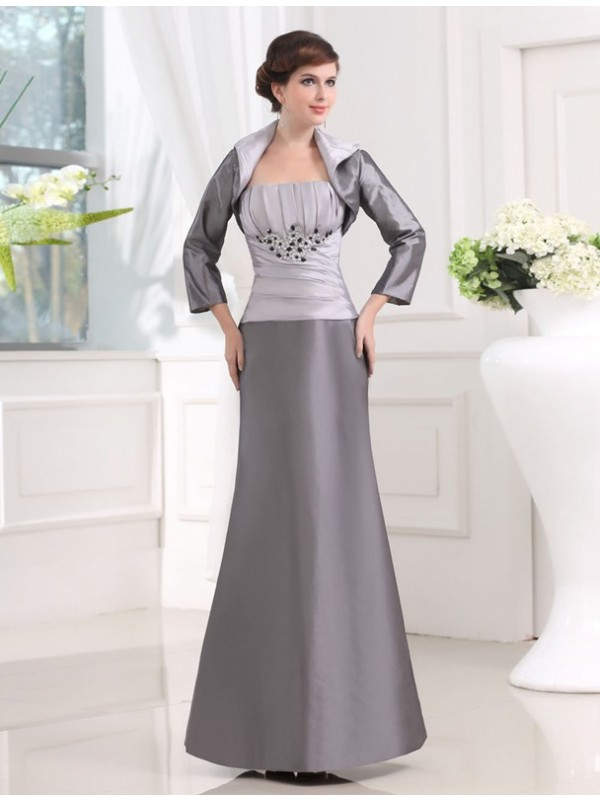 Sheath/Column Strapless Sleeveless Ankle-Length Taffeta Mother of the Bride Dresses with Beading Applique