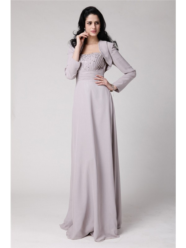 Sheath/Column Strapless Sleeveless Floor-Length Chiffon Mother of the Bride Dresses with Beading Pleats